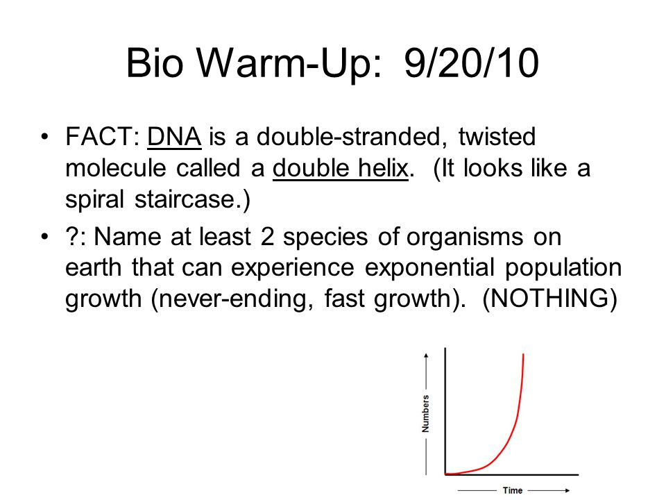 Bio Warm-Up: 9/20/10 FACT: DNA is a double-stranded, twisted molecule called a double helix. (It looks like a spiral staircase.)