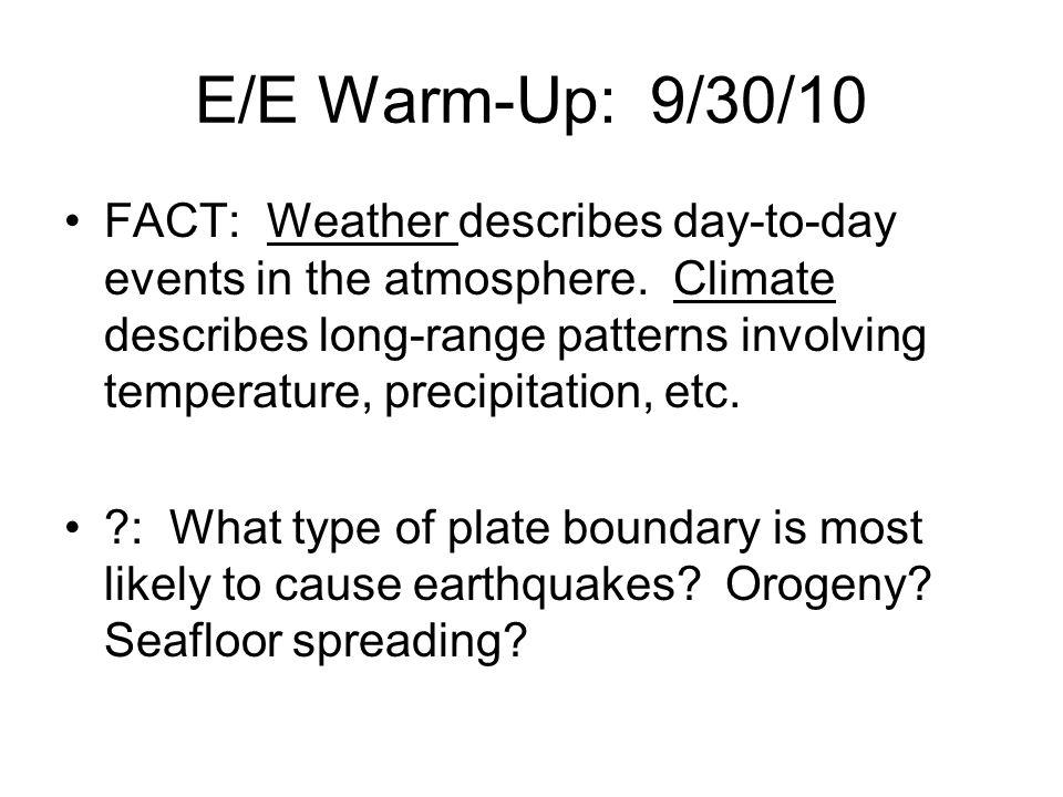 E/E Warm-Up: 9/30/10