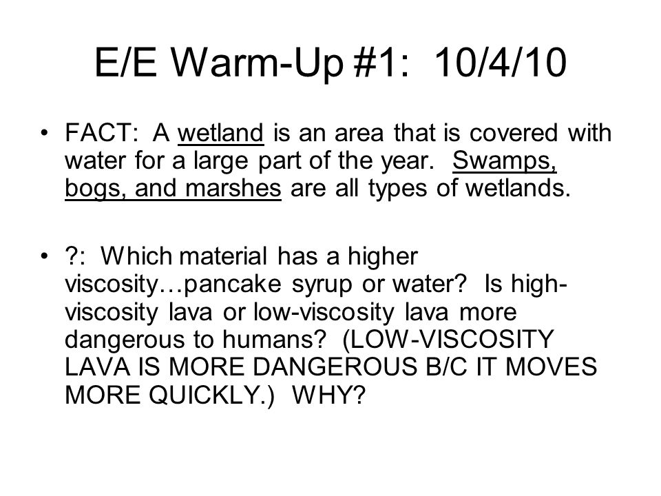 E/E Warm-Up #1: 10/4/10