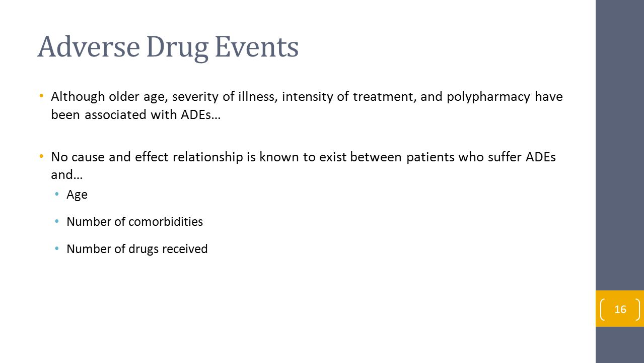 Adverse Drug Events Although older age, severity of illness, intensity of treatment, and polypharmacy have been associated with ADEs…