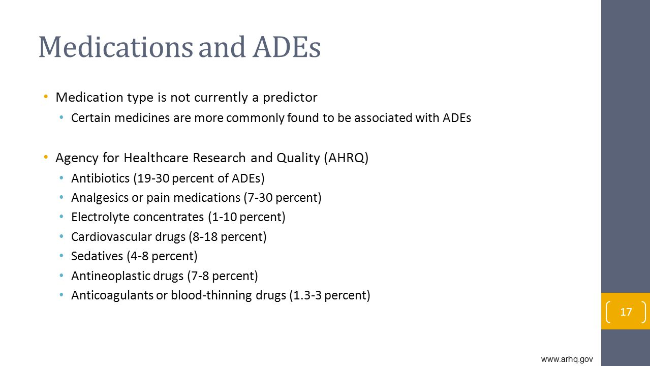 Medications and ADEs Medication type is not currently a predictor
