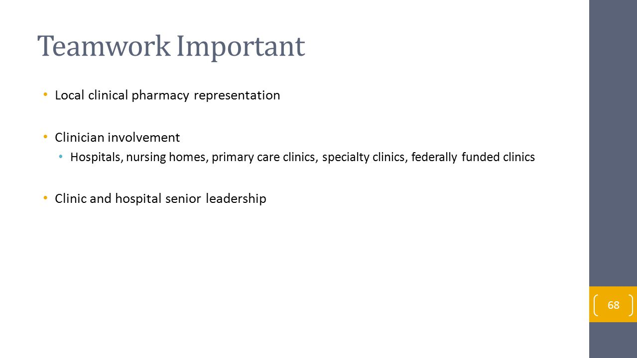 Teamwork Important Local clinical pharmacy representation