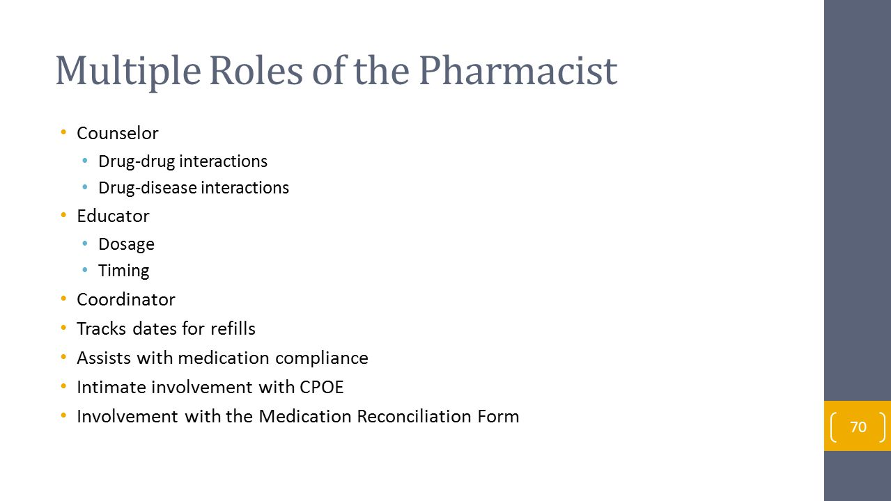 Multiple Roles of the Pharmacist