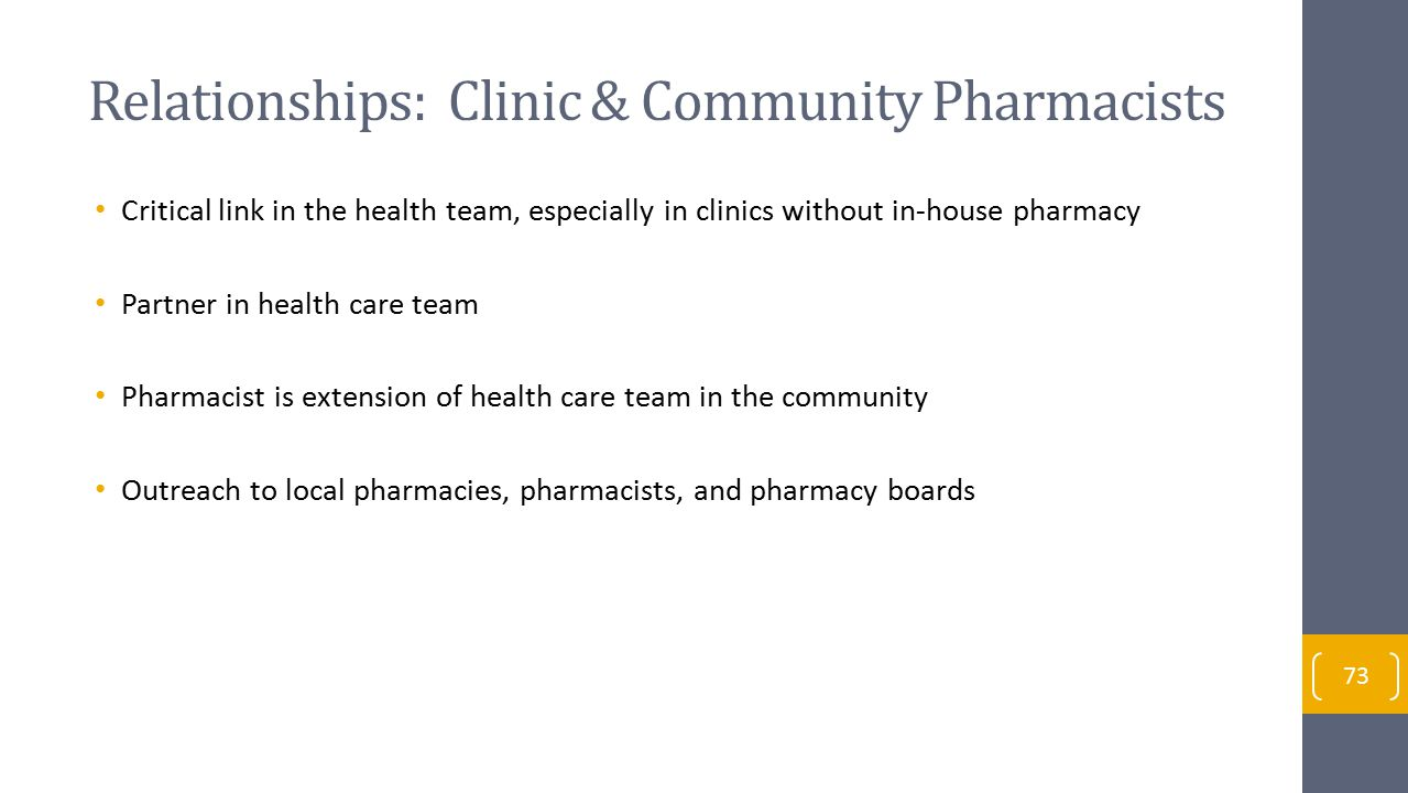 Relationships: Clinic & Community Pharmacists