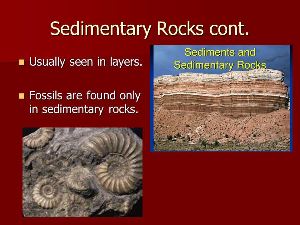 Sedimentary Rocks cont.