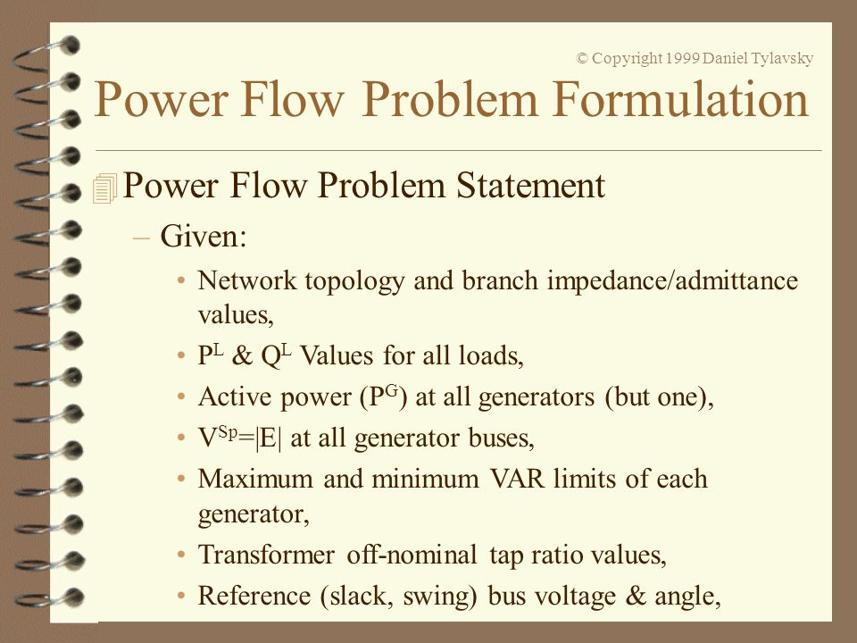 Power Flow Problem Statement