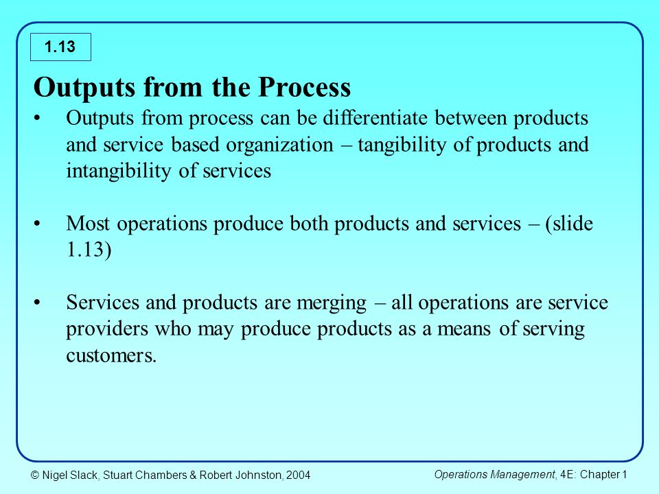 Outputs from the Process