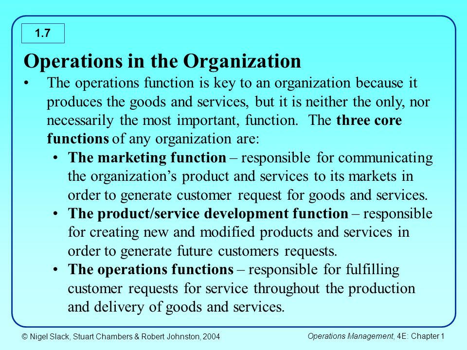 Operations in the Organization