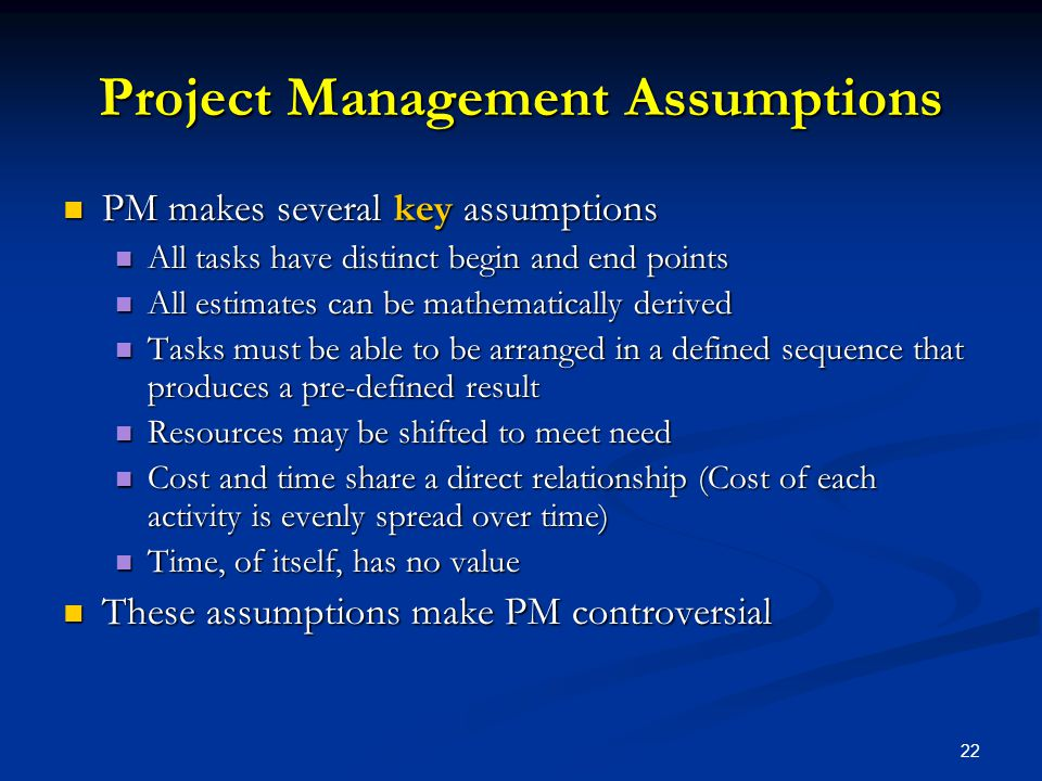Project Management Assumptions