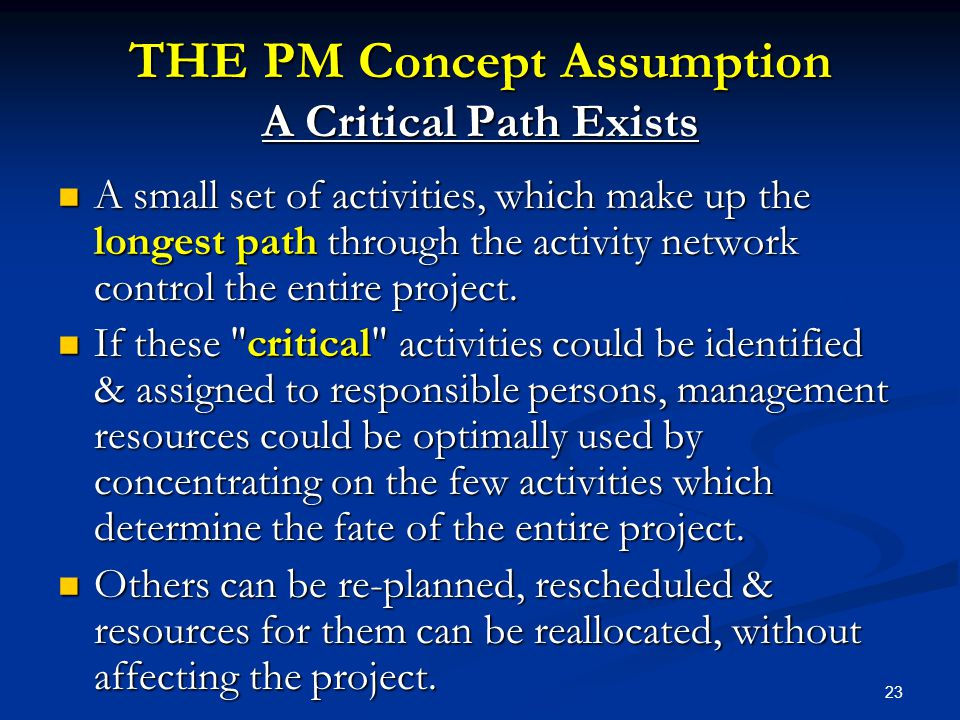 THE PM Concept Assumption A Critical Path Exists