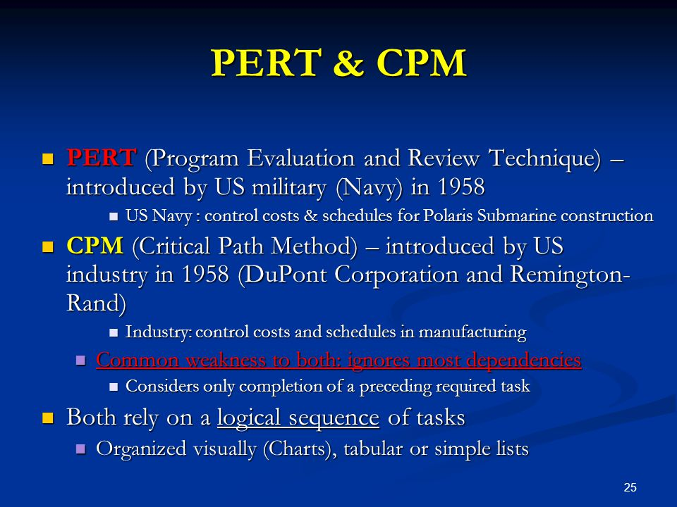 PERT & CPM PERT (Program Evaluation and Review Technique) – introduced by US military (Navy) in 1958.