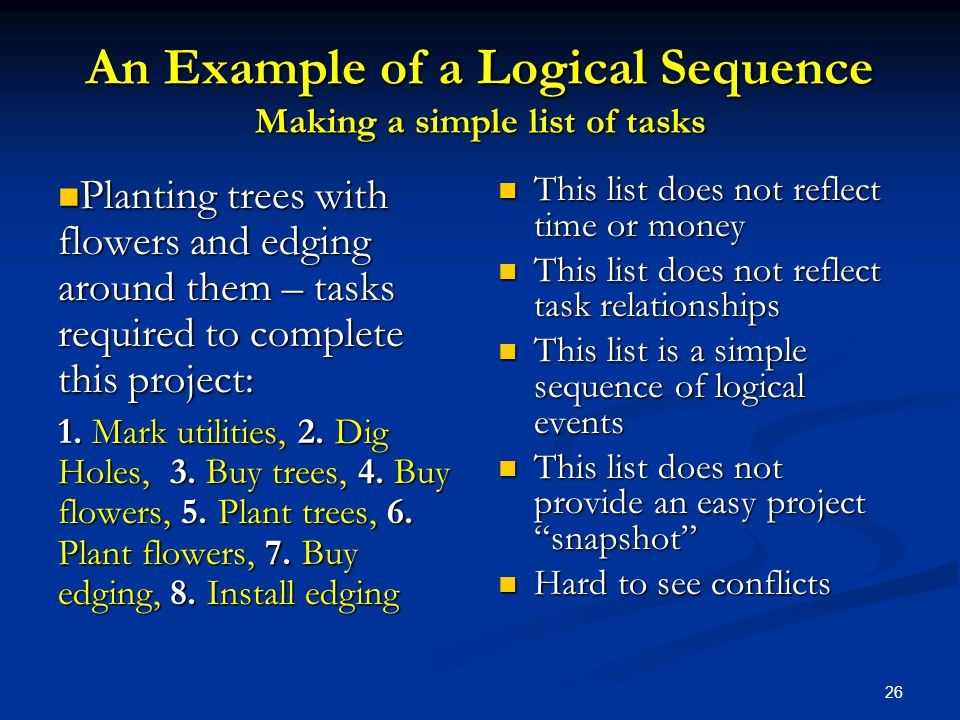 An Example of a Logical Sequence Making a simple list of tasks