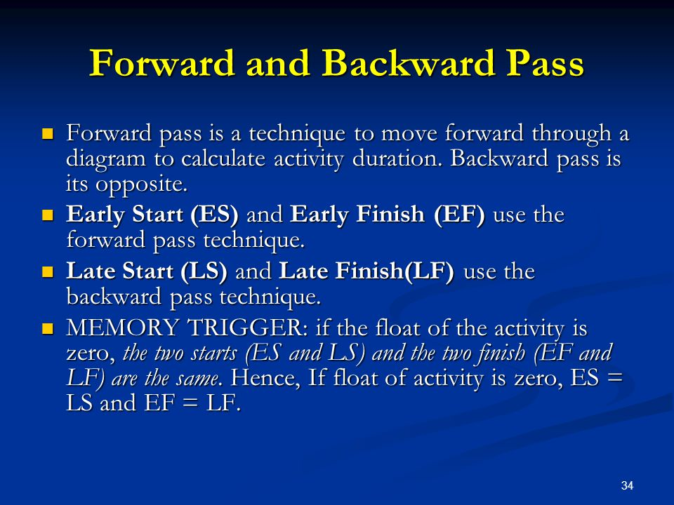 Forward and Backward Pass
