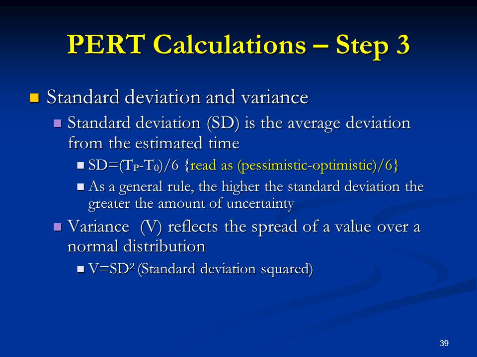 PERT Calculations – Step 3