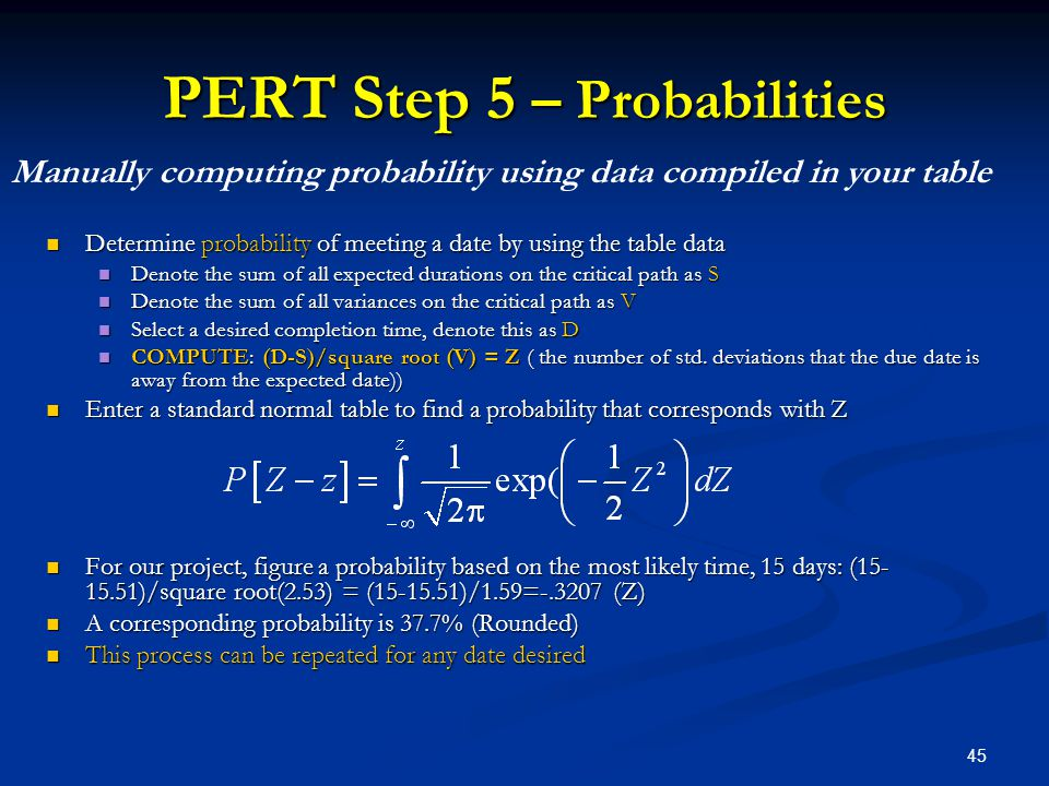 PERT Step 5 – Probabilities