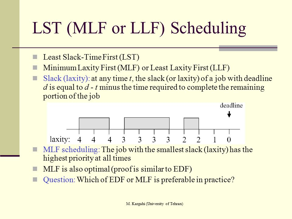 LST (MLF or LLF) Scheduling