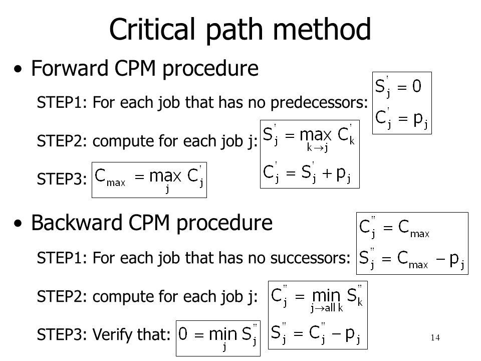 Critical path method Forward CPM procedure Backward CPM procedure