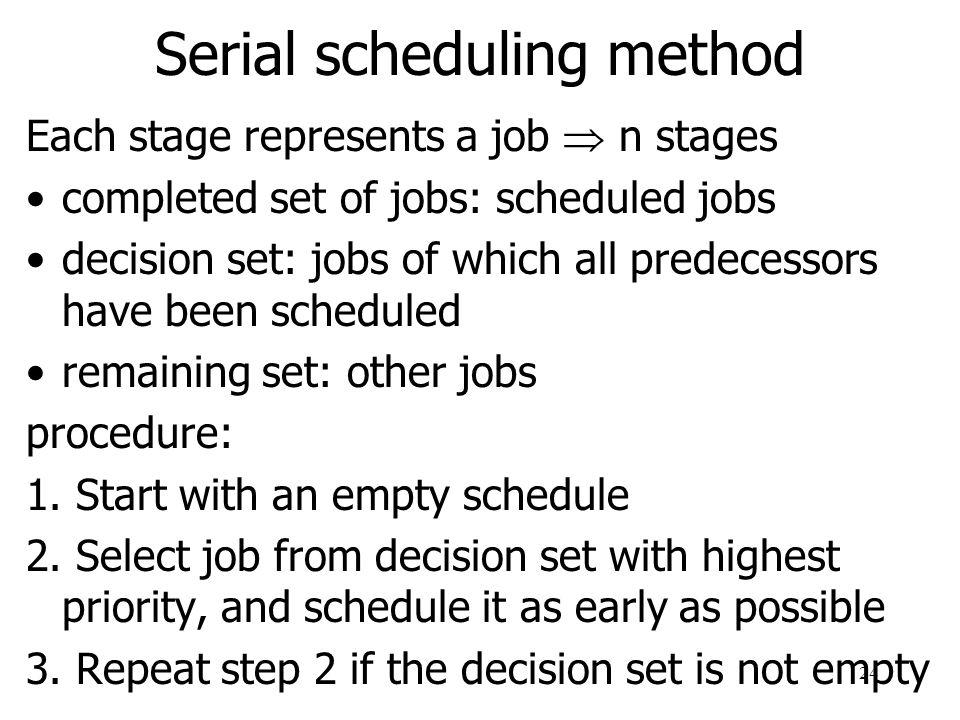 Serial scheduling method