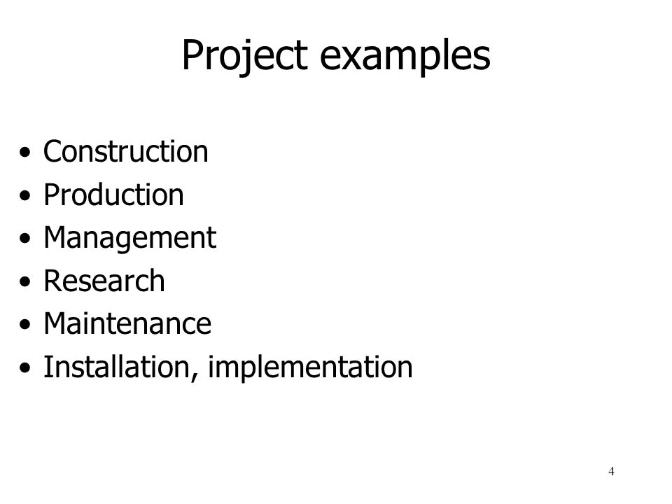 Project examples Construction Production Management Research