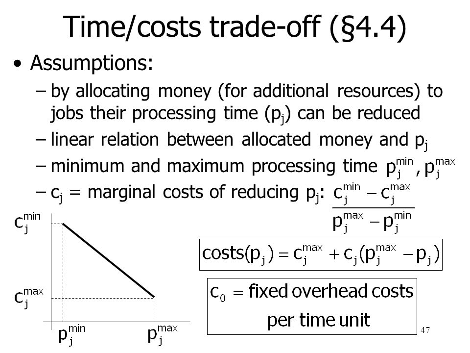 Time/costs trade-off (§4.4)