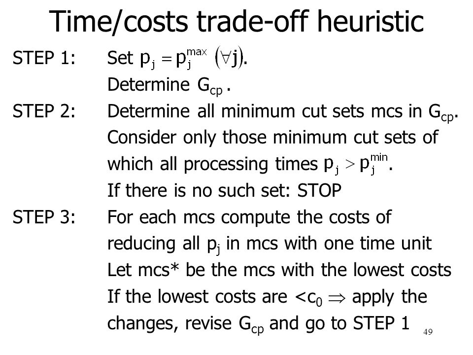 Time/costs trade-off heuristic