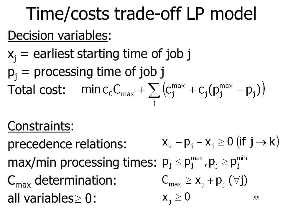 Time/costs trade-off LP model