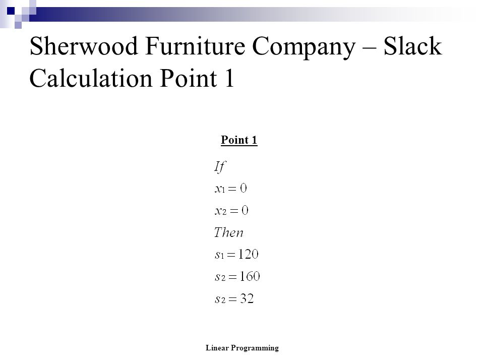 Sherwood Furniture Company – Slack Calculation Point 1
