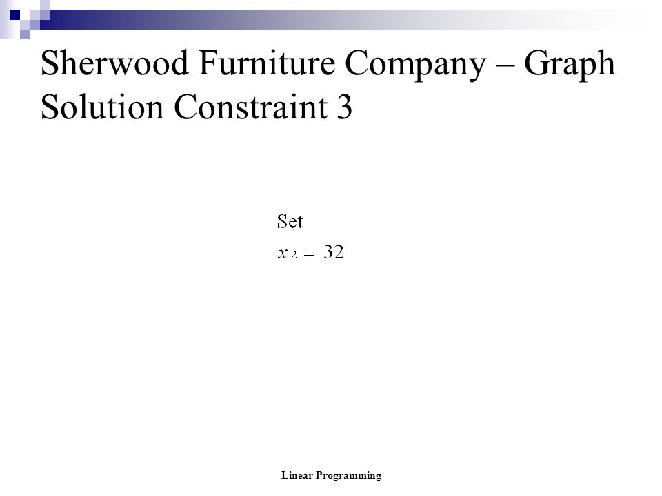 Sherwood Furniture Company – Graph Solution Constraint 3