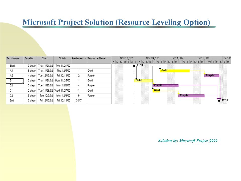 Microsoft Project Solution (Resource Leveling Option)