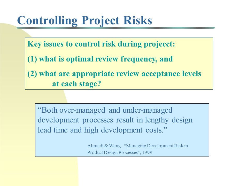 Controlling Project Risks