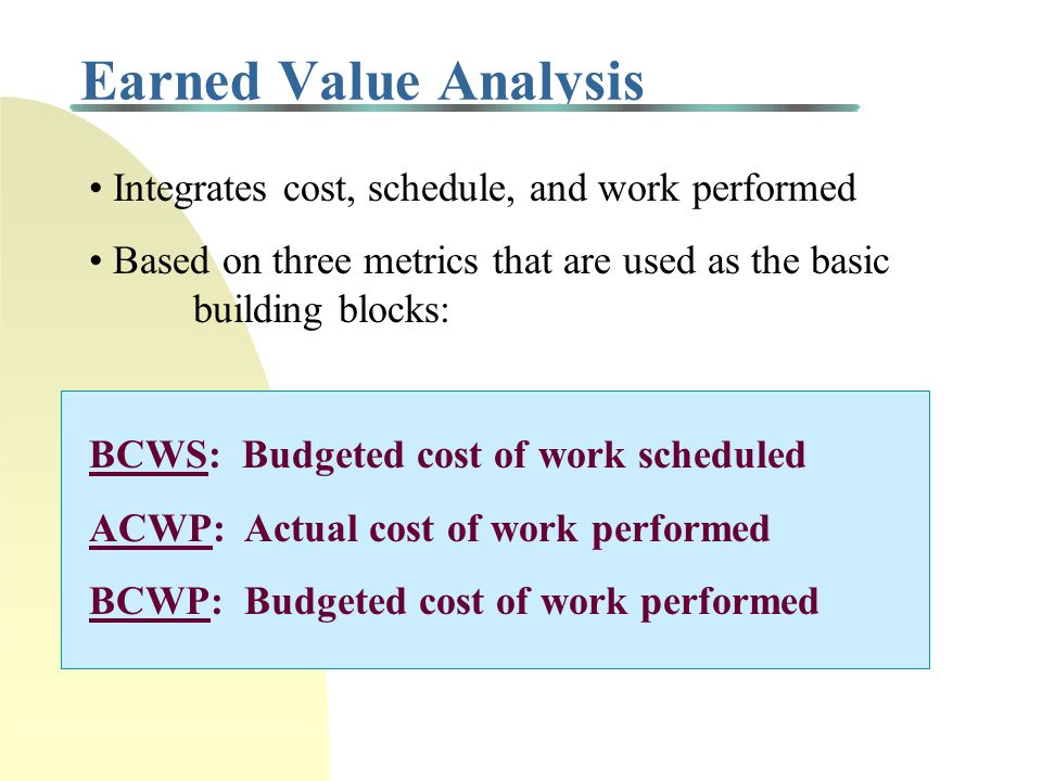 Earned Value Analysis • Integrates cost, schedule, and work performed