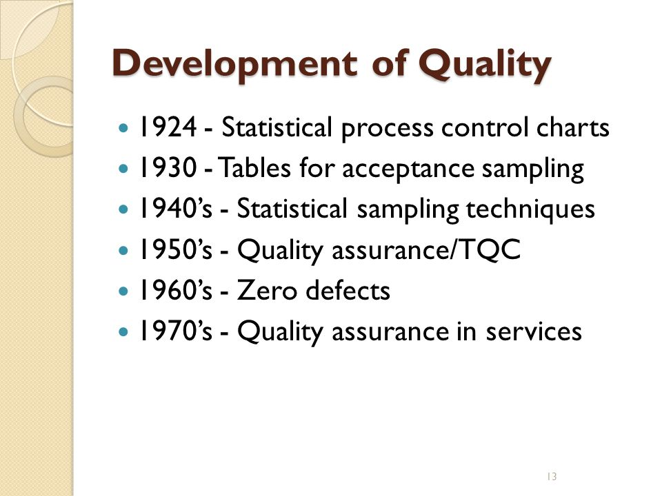 Development of Quality
