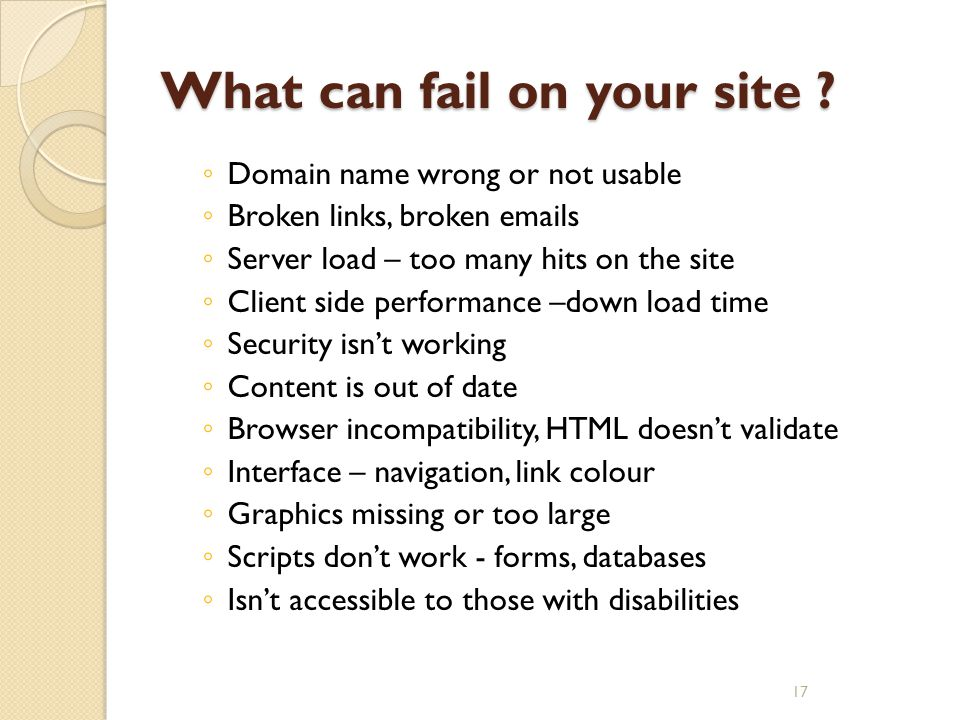 What can fail on your site