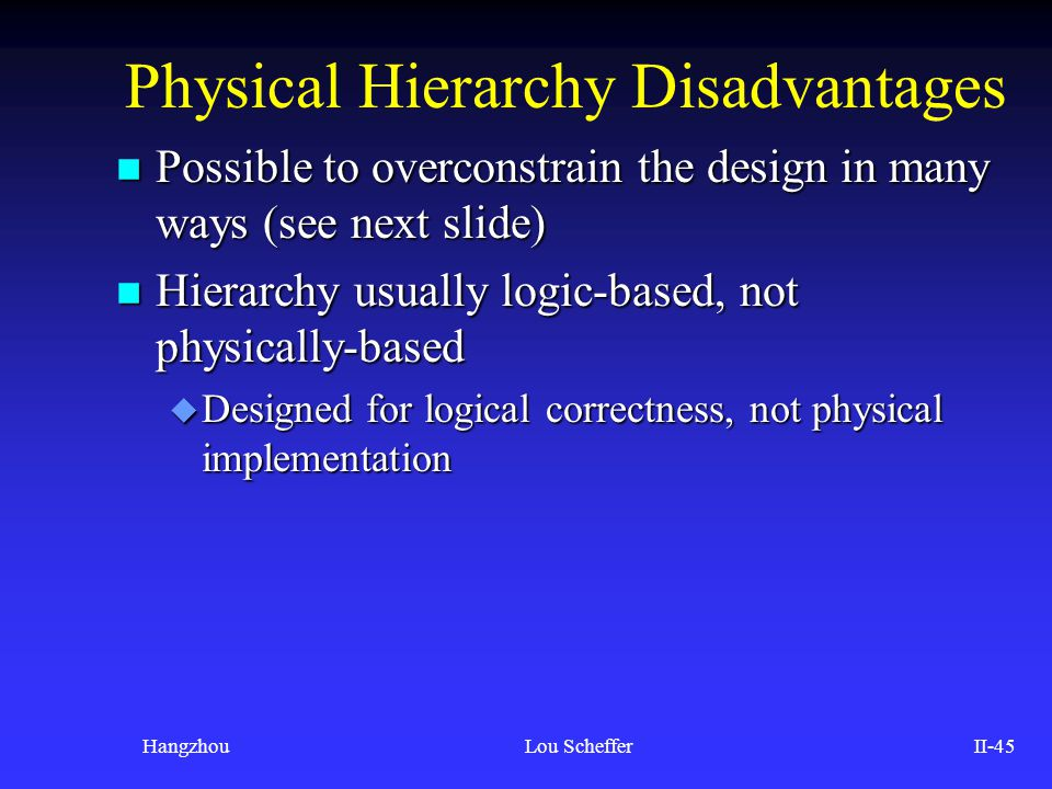 Physical Hierarchy Disadvantages