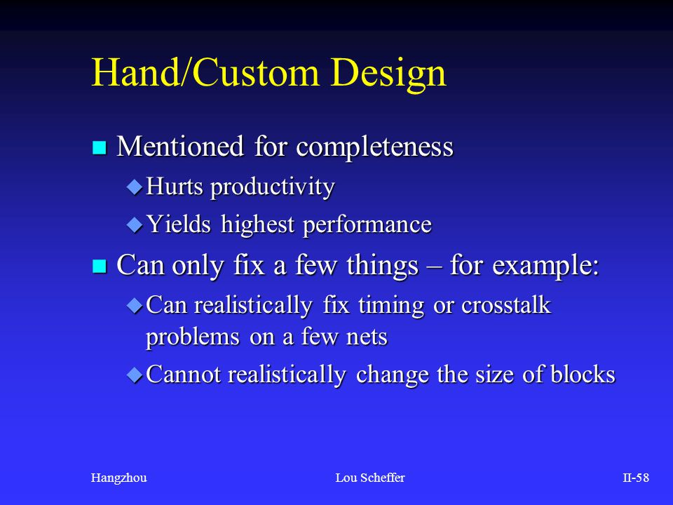 Hand/Custom Design Mentioned for completeness