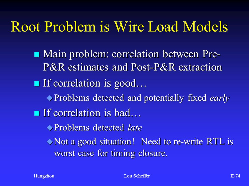 Root Problem is Wire Load Models