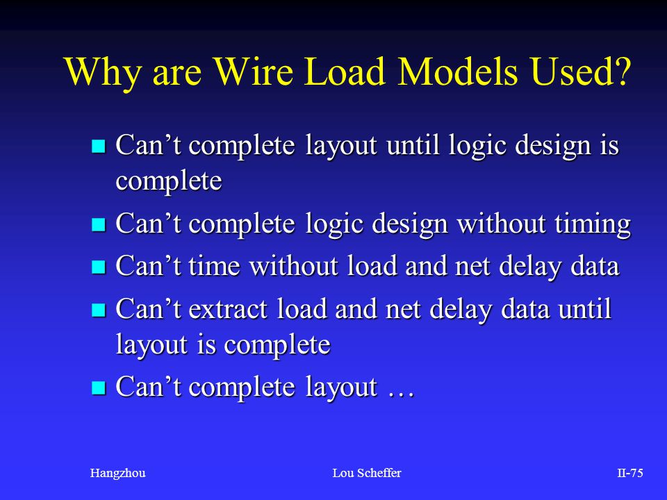 Why are Wire Load Models Used