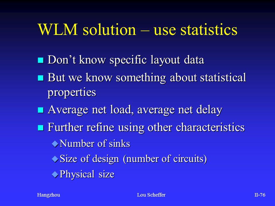 WLM solution – use statistics