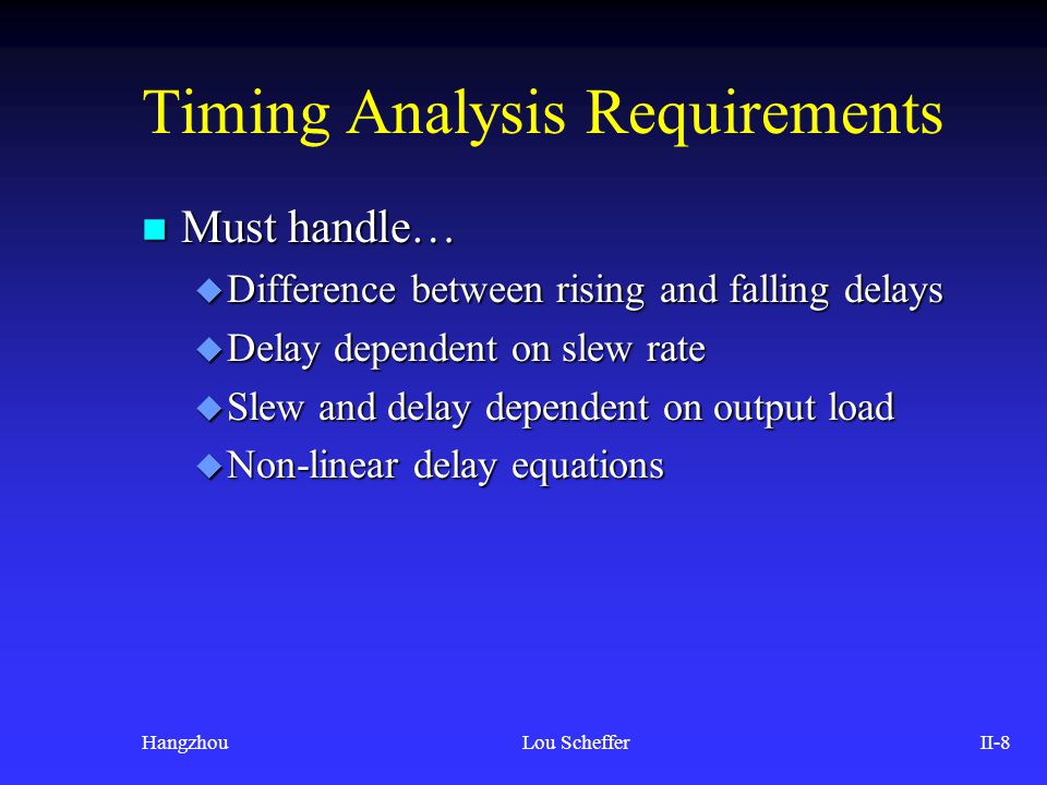 Timing Analysis Requirements