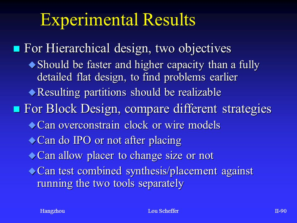 Experimental Results For Hierarchical design, two objectives