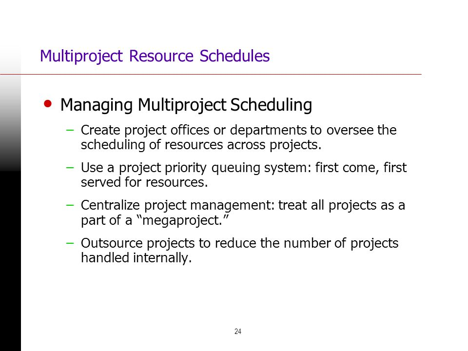 Multiproject Resource Schedules