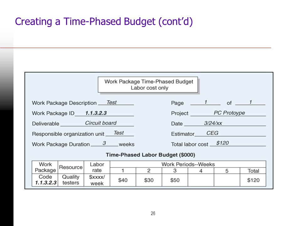 Creating a Time-Phased Budget (cont'd)