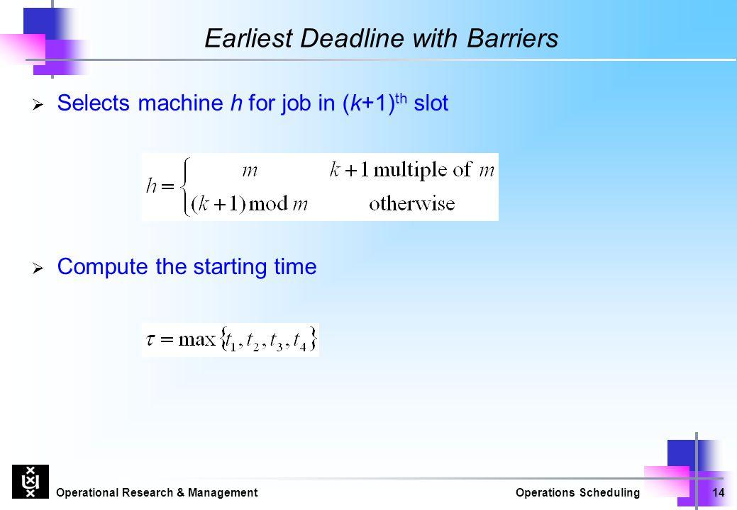 Earliest Deadline with Barriers