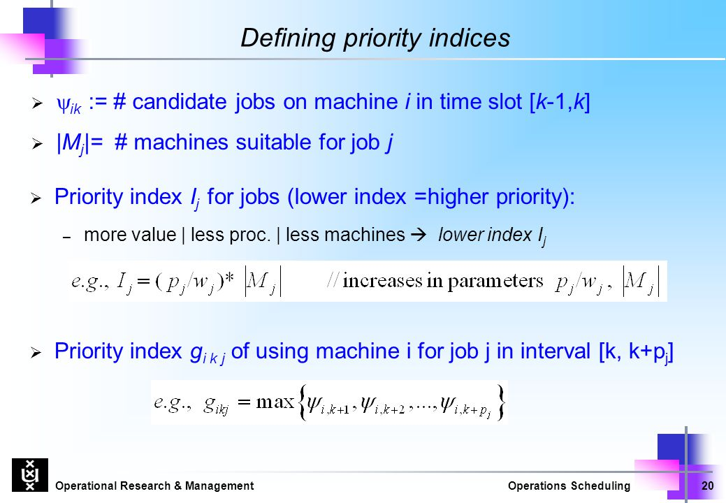 Defining priority indices