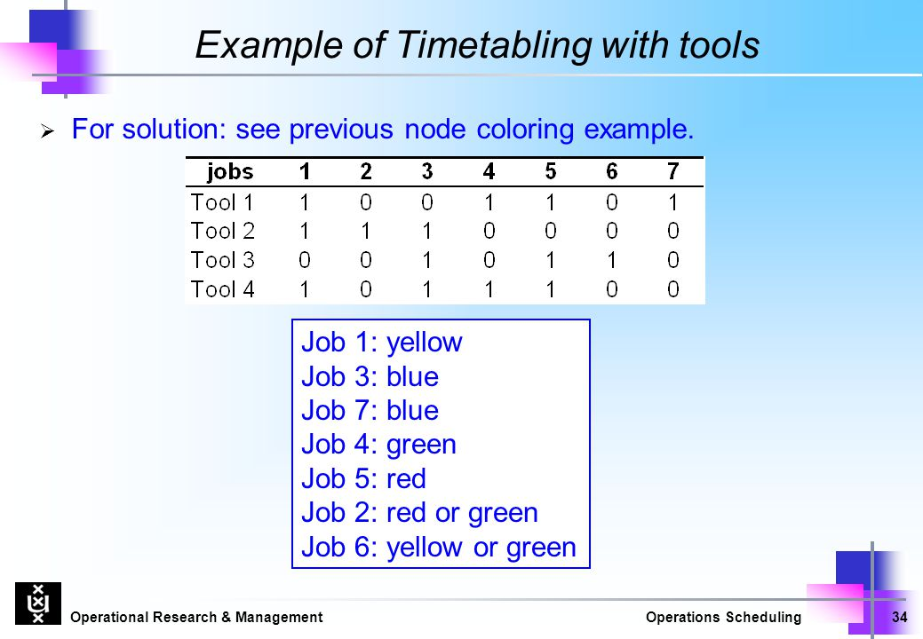 Example of Timetabling with tools