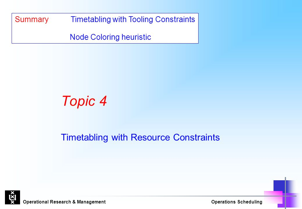 Timetabling with Resource Constraints