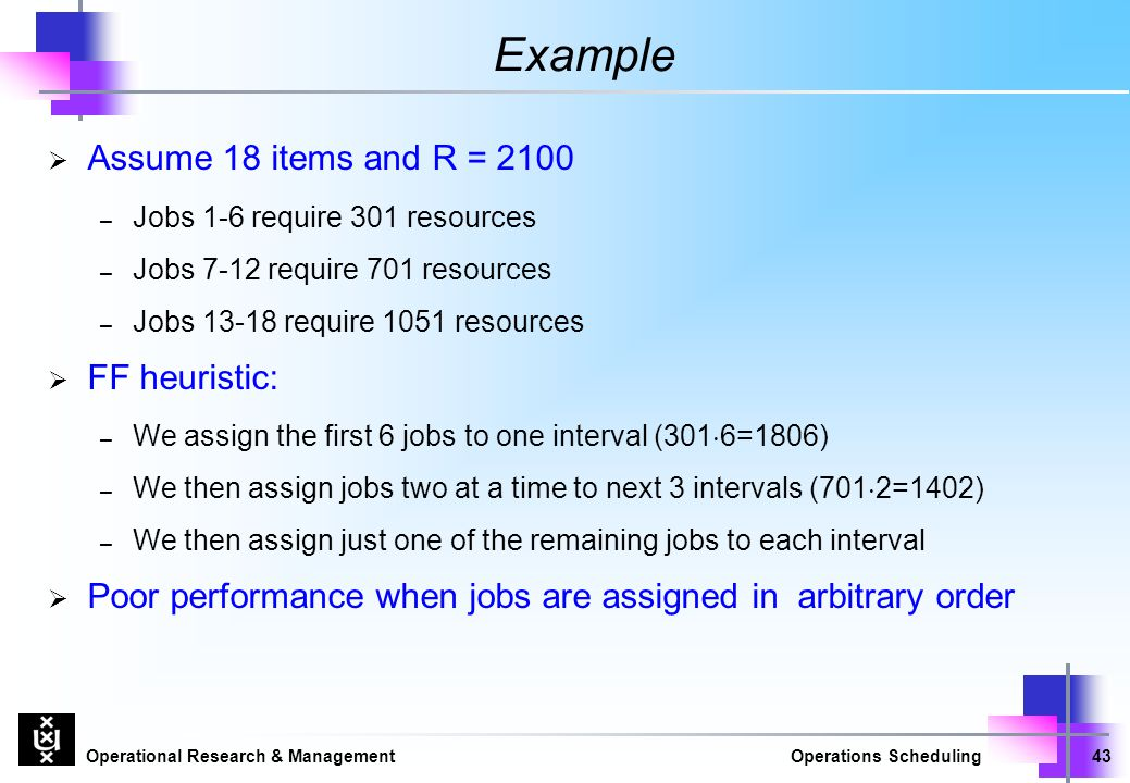 Example Assume 18 items and R = 2100 FF heuristic: