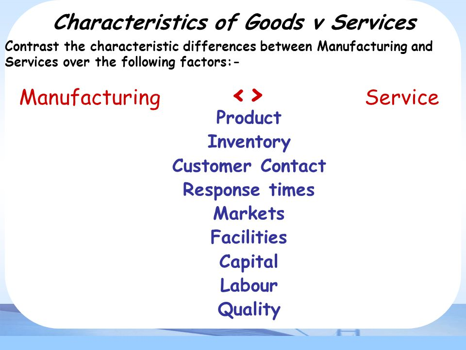 Characteristics of Goods v Services