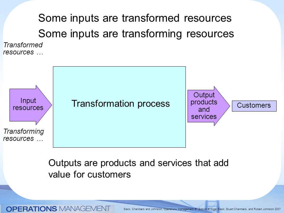 Some inputs are transformed resources