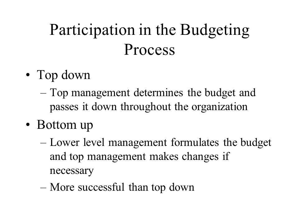 Participation in the Budgeting Process